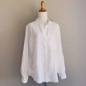 Cloth & Stone Frayed Hem Linen Button Up
